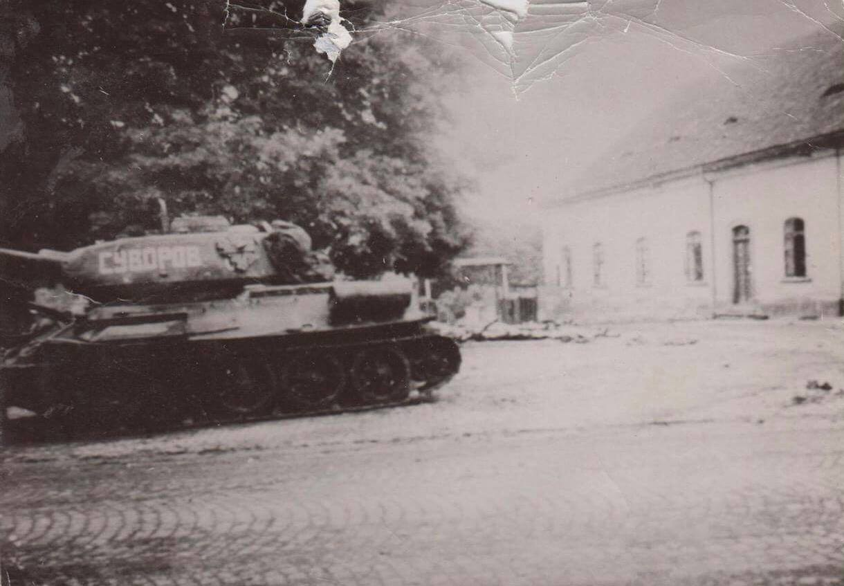 The First Russian Tank to Enter Lovosice, May 8, 1945.