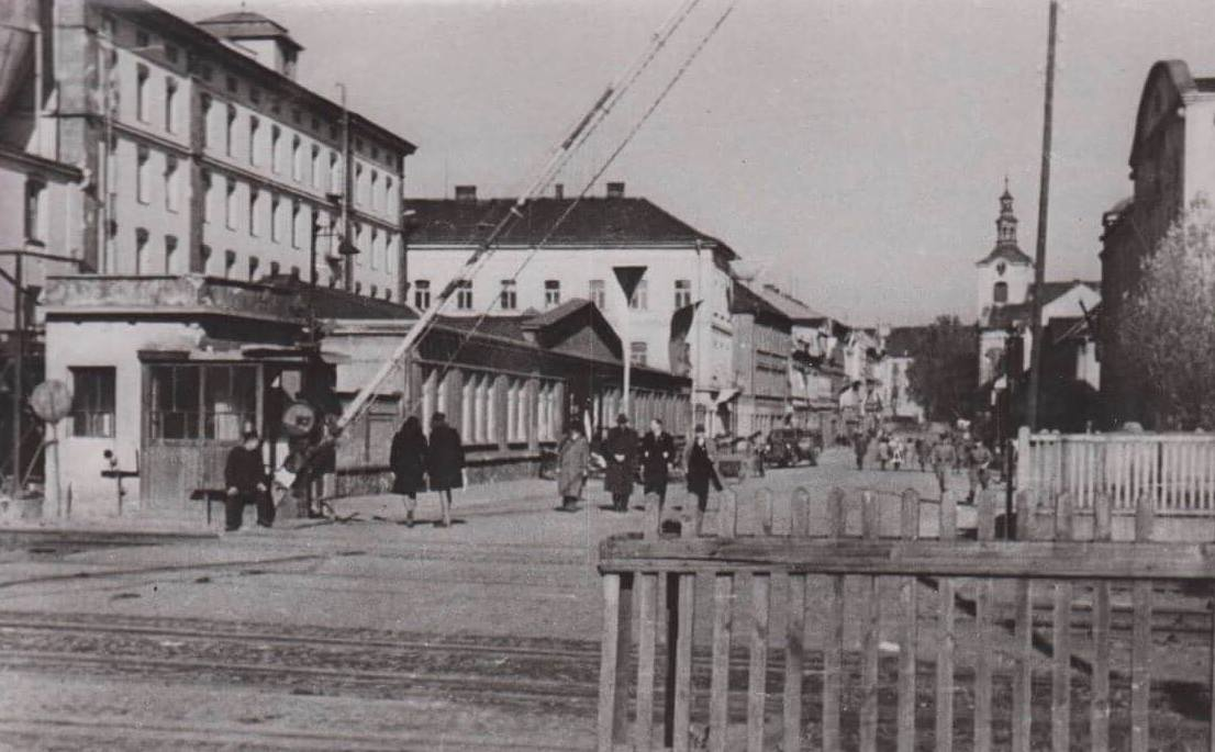 Town Square of Lovosice Where Silvia was Caught in the Crossfire May 8, 1945, (Image from 1946).