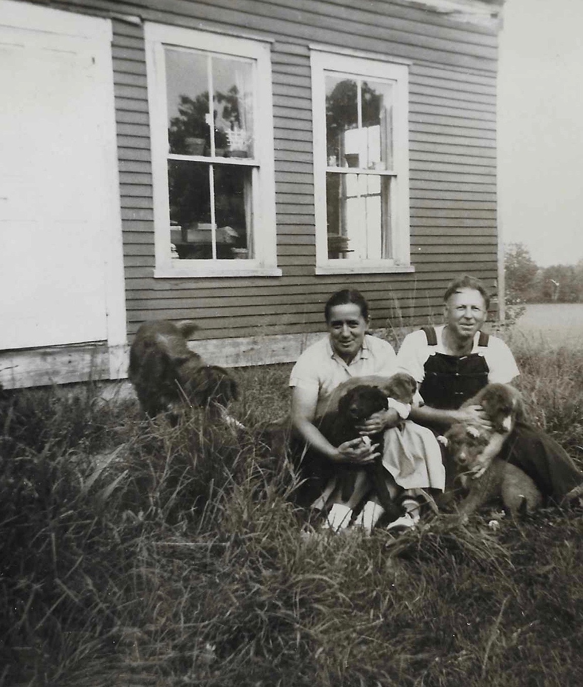 Silvia Narma (Umbjarv) and Juhan Umbjarv, on first Vermont farm, ca. 1957