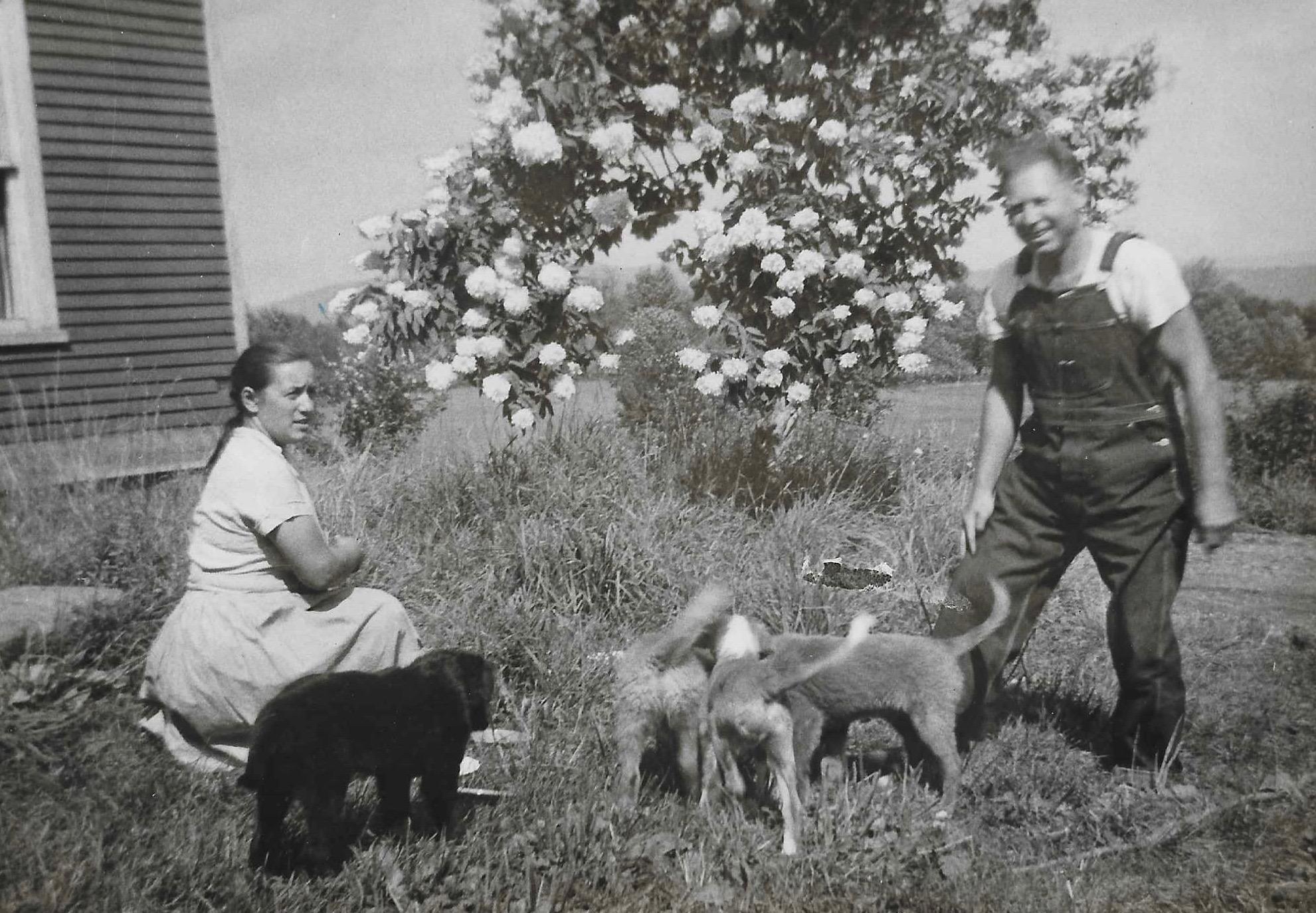 Silvia and Juhan Umbjarv at the Braintree, VT farm ca. 1957.