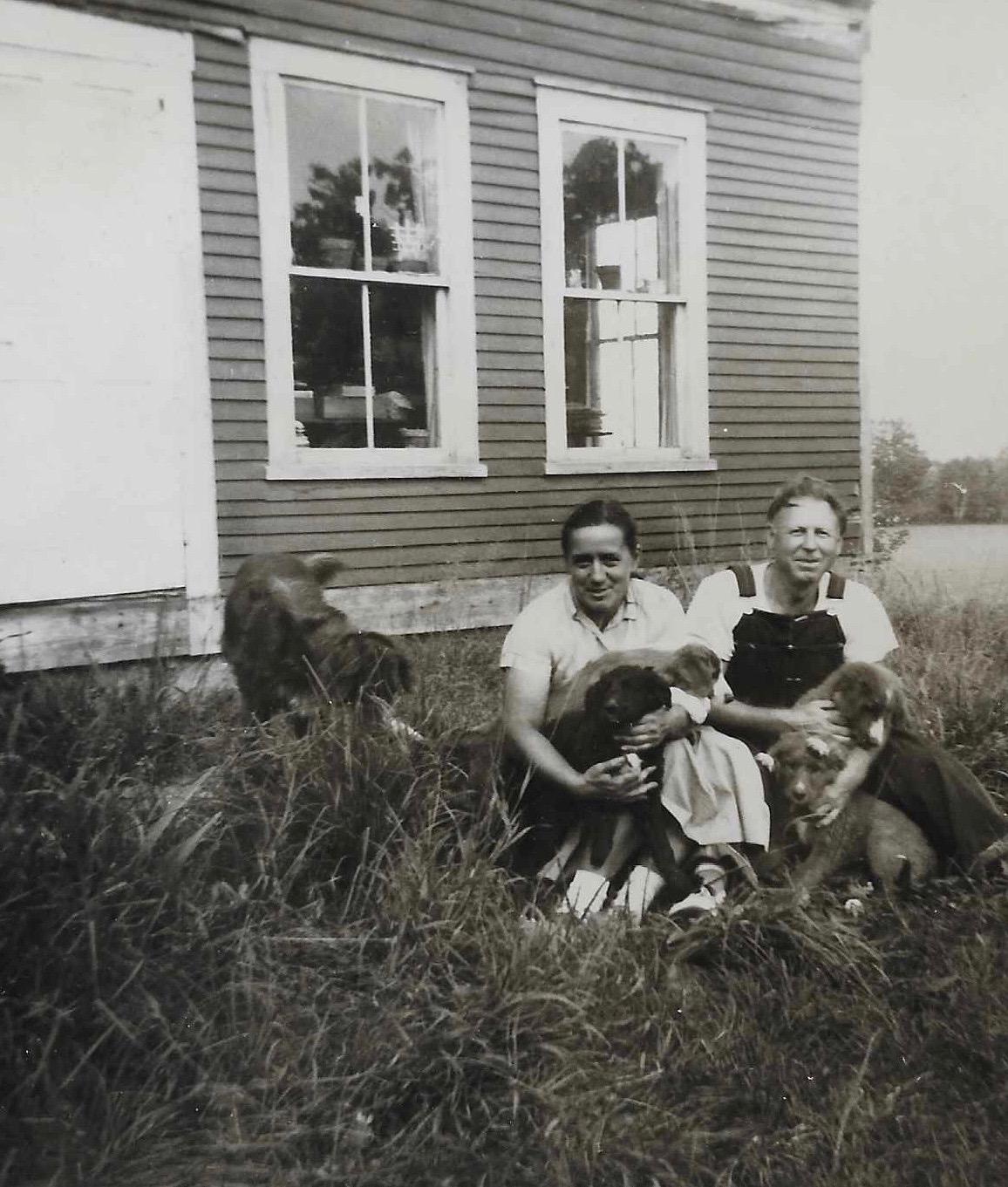 Silvia Narma (Umbjarv) and Juhan Umbjarv, on first Vermont farm, ca. 1957