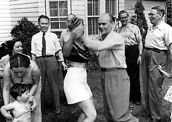 Henrik Visnapuu dancing at an Estonian emigre gathering in New Jersey. Silvia is back left.